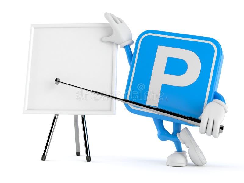 Χαρακτήρας συμβόλων χώρων στάθμευσης με το κενό whiteboard απεικόνιση αποθεμάτων