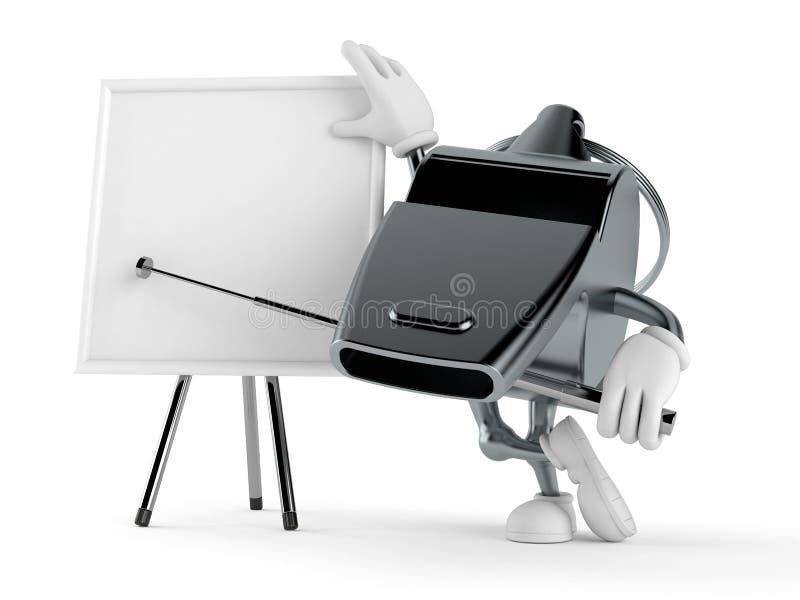 Χαρακτήρας συριγμού με το κενό whiteboard διανυσματική απεικόνιση