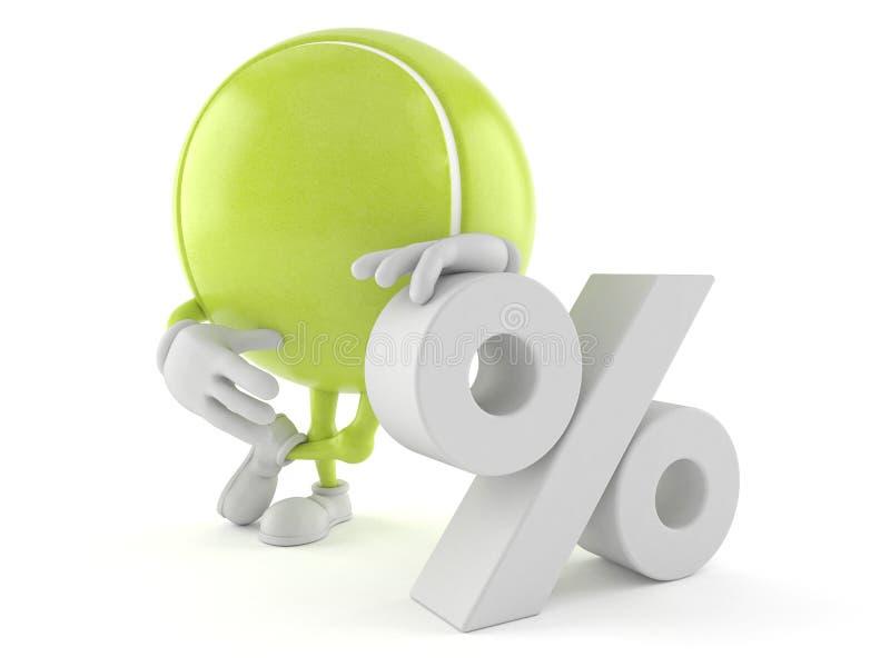 Χαρακτήρας σφαιρών αντισφαίρισης με το σύμβολο τοις εκατό ελεύθερη απεικόνιση δικαιώματος