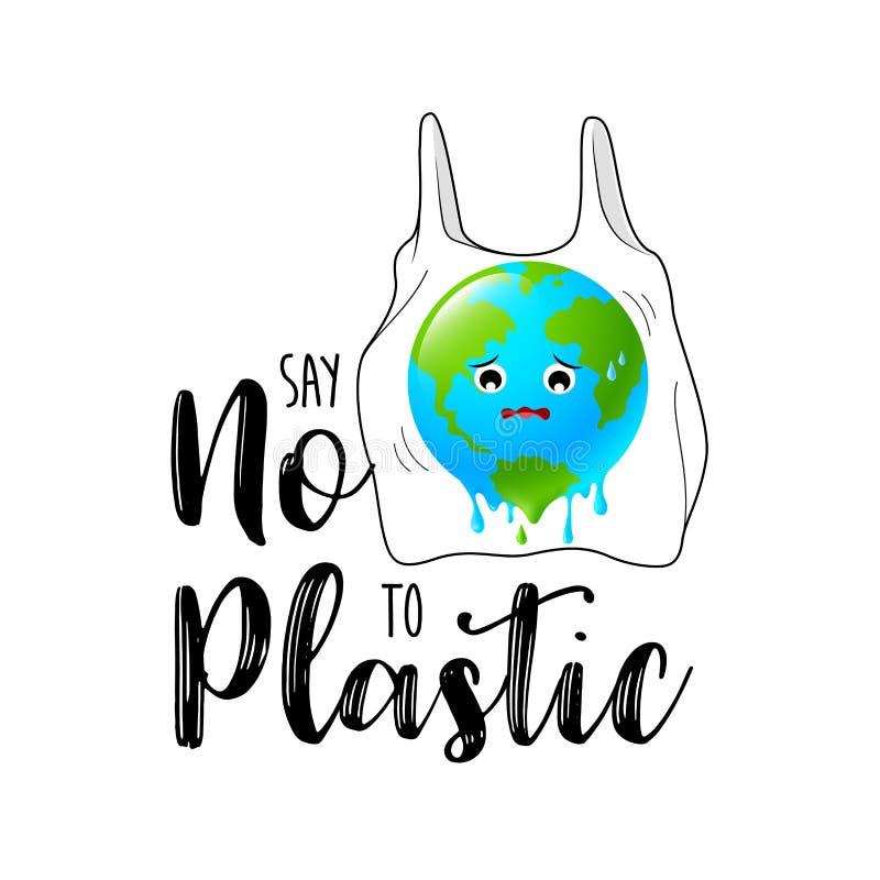Χαρακτήρας σφαιρών κινούμενων σχεδίων στη πλαστική τσάντα ελεύθερη απεικόνιση δικαιώματος