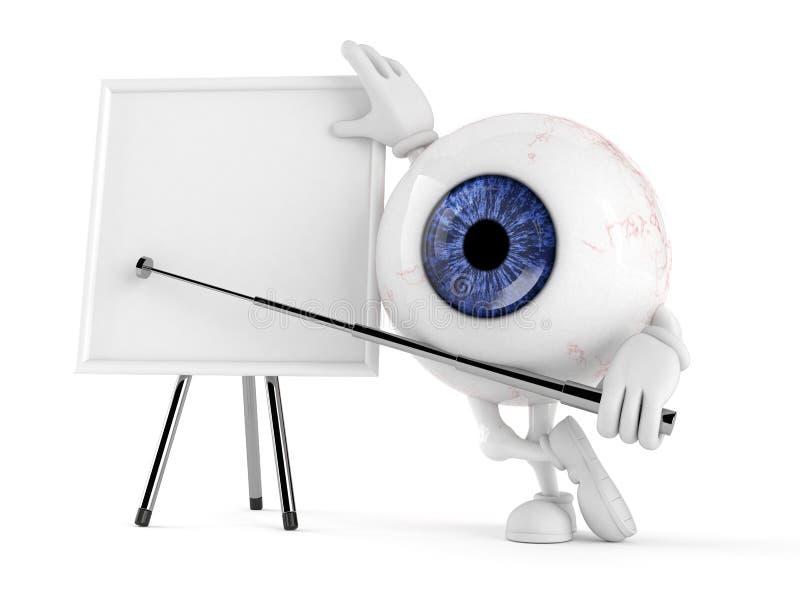 Χαρακτήρας σφαιρών ματιών με το κενό whiteboard διανυσματική απεικόνιση