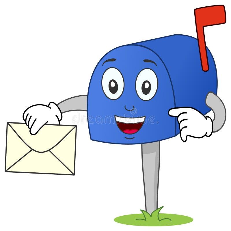 Χαρακτήρας ταχυδρομικών θυρίδων με το γράμμα διανυσματική απεικόνιση