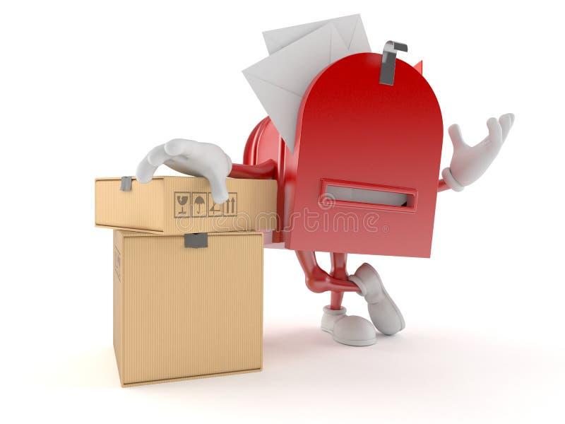 Χαρακτήρας ταχυδρομικών θυρίδων με το σωρό των πεδίων ελεύθερη απεικόνιση δικαιώματος