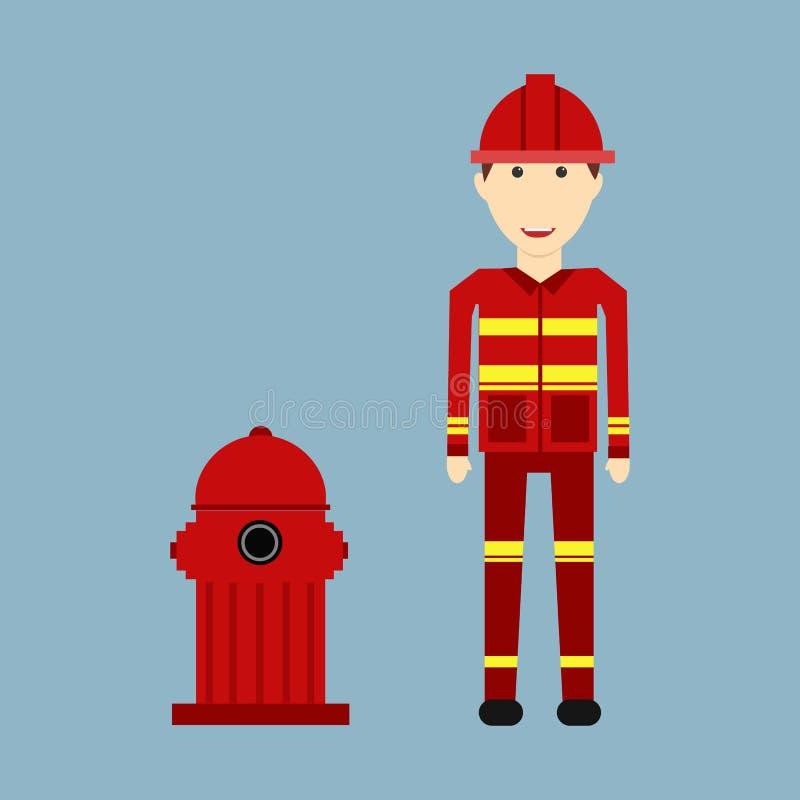 Χαρακτήρας του πυροσβέστη επαγγέλματος με την πυρασφάλεια ελεύθερη απεικόνιση δικαιώματος