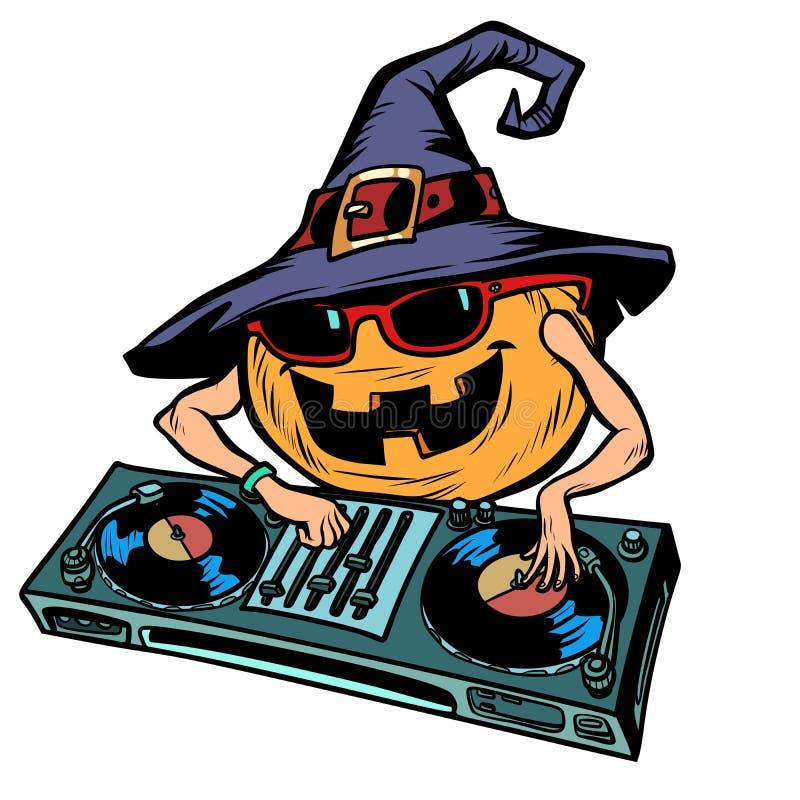 Χαρακτήρας του DJ κολοκύθας αποκριών Απομονώστε στην άσπρη ανασκόπηση ελεύθερη απεικόνιση δικαιώματος