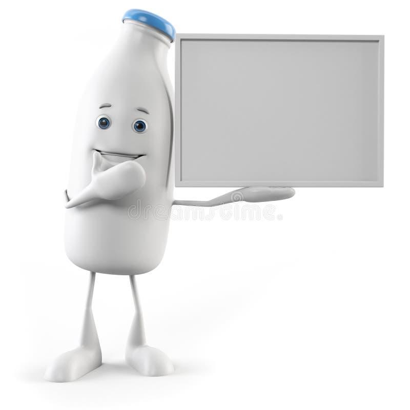 Χαρακτήρας τροφίμων - μπουκάλι γάλακτος απεικόνιση αποθεμάτων