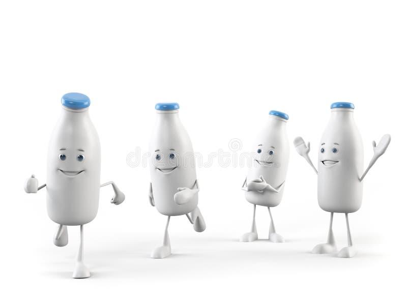 Χαρακτήρας τροφίμων - μπουκάλι γάλακτος διανυσματική απεικόνιση