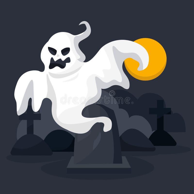 Χαρακτήρας φαντασμάτων αποκριών στο τρομακτικό υπόβαθρο κάστρων με το φεγγάρι αποκριές ευτυχείς cartoon ελεύθερη απεικόνιση δικαιώματος