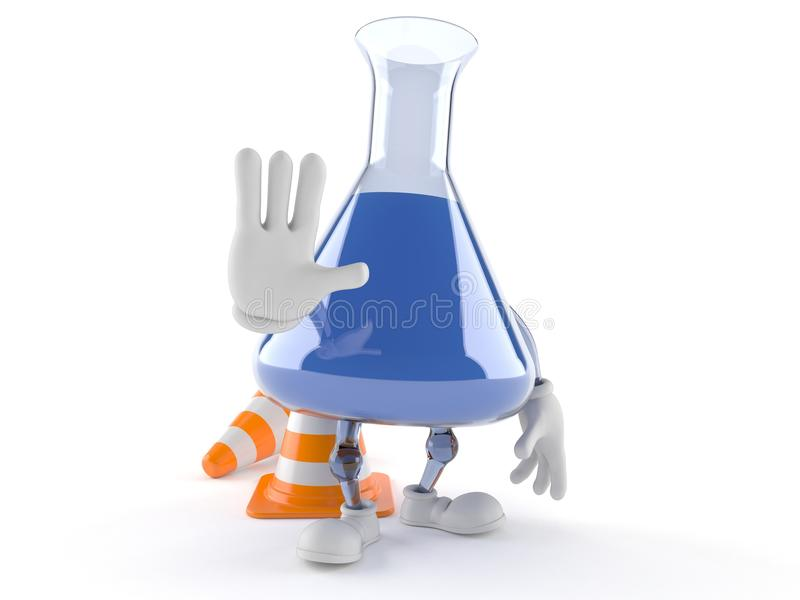 Χαρακτήρας φιαλών χημείας με τον κώνο κυκλοφορίας απεικόνιση αποθεμάτων
