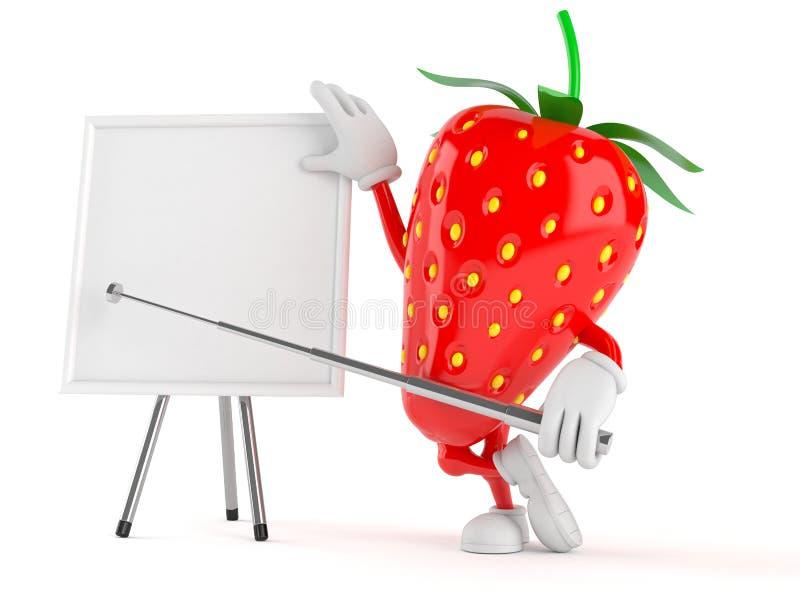 Χαρακτήρας φραουλών με το κενό whiteboard απεικόνιση αποθεμάτων