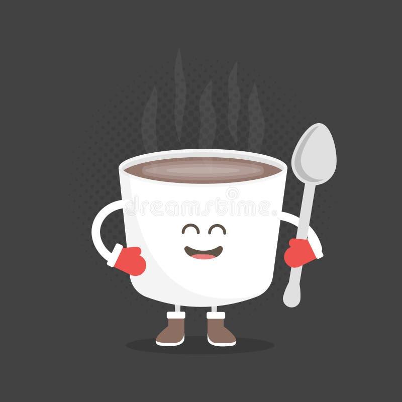 Χαρακτήρας χαρτονιού επιλογών εστιατορίων παιδιών Χριστούγεννα και νέο χειμερινό ύφος έτους Αστείος χαριτωμένος καφές κουπών που  απεικόνιση αποθεμάτων