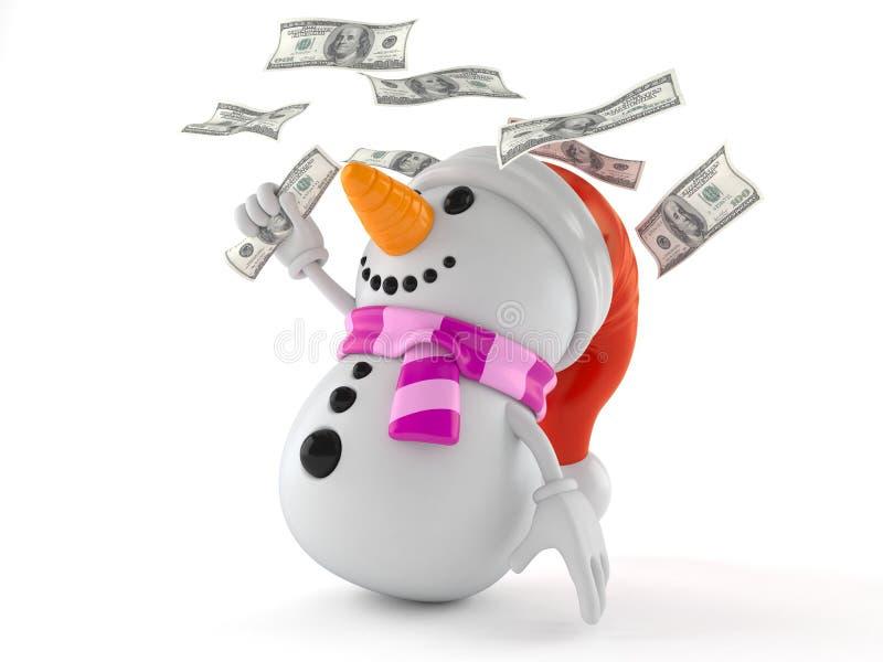 Χαρακτήρας χιονανθρώπων με τα χρήματα διανυσματική απεικόνιση