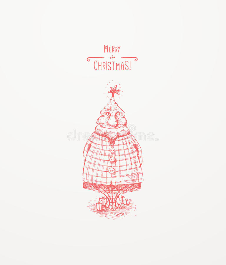 Χαρακτήρας χριστουγεννιάτικων δέντρων διανυσματική απεικόνιση