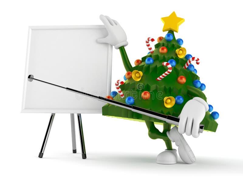 Χαρακτήρας χριστουγεννιάτικων δέντρων με το κενό whiteboard απεικόνιση αποθεμάτων