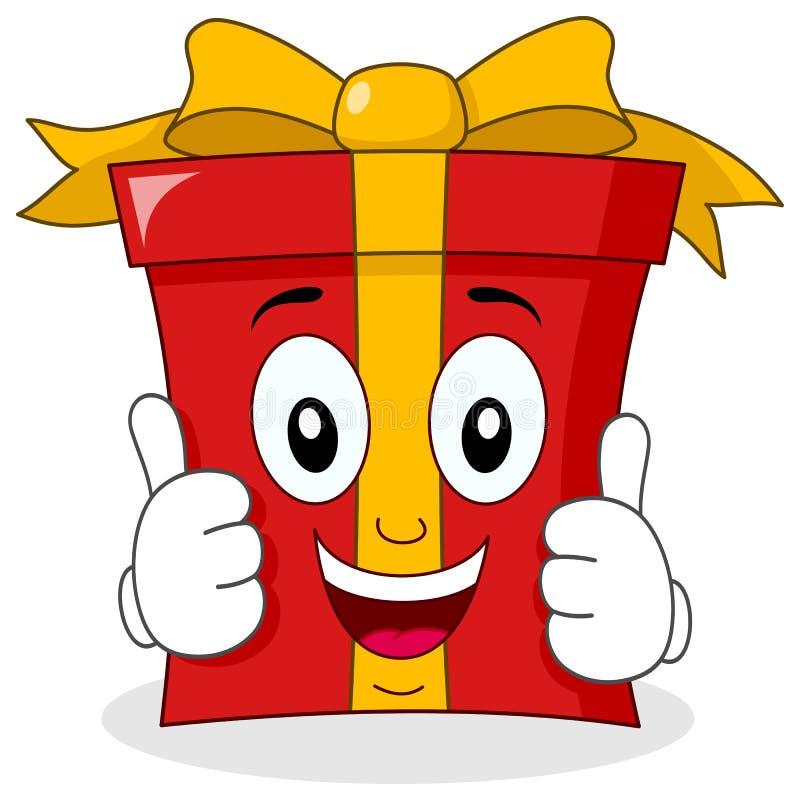 Χαρακτήρας δώρων κινούμενων σχεδίων με τους αντίχειρες επάνω διανυσματική απεικόνιση
