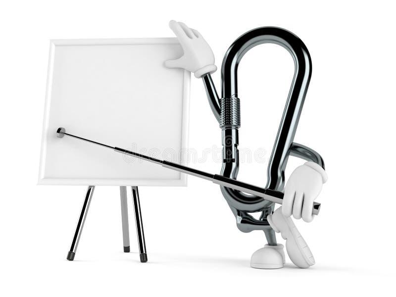 Χαρακτήρας Carabiner με το κενό whiteboard διανυσματική απεικόνιση