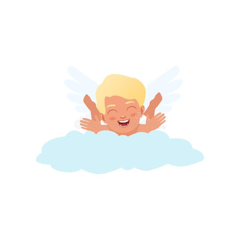Χαρακτήρας Cupid μωρών που βρίσκεται παιχνιδιάρικα σε ένα σύννεφο, ευτυχής διανυσματική απεικόνιση έννοιας ημέρας βαλεντίνων διανυσματική απεικόνιση