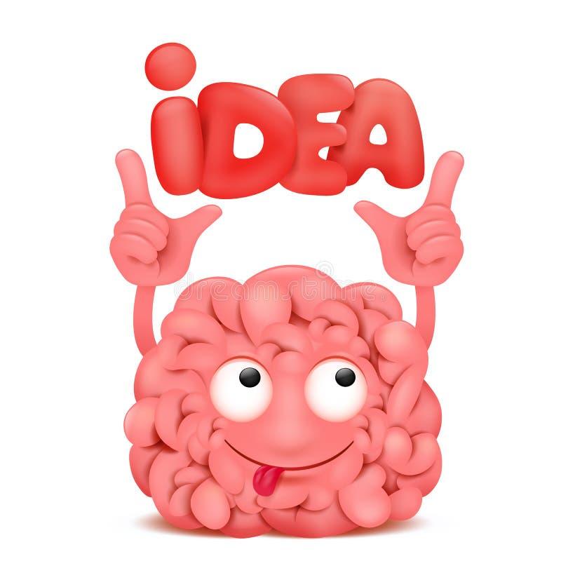Χαρακτήρας kawaii απεικόνισης κινούμενων σχεδίων εγκεφάλου με το κείμενο τίτλου ιδέας απεικόνιση αποθεμάτων