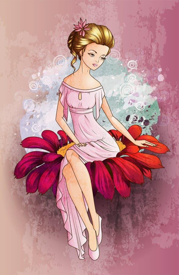 Χαρακτήρας Thumbelina παραμυθιού που εγκαθιστά στο λουλούδι διανυσματική απεικόνιση