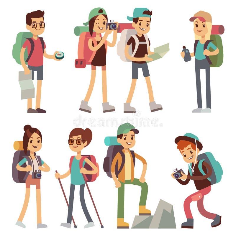 Χαρακτήρες ανθρώπων τουριστών για την πεζοπορία και να πραγματοποιήσει οδοιπορικό, διανυσματική έννοια ταξιδιού με σκοπό τις διακ απεικόνιση αποθεμάτων