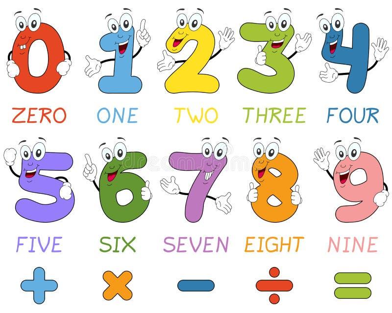 Χαρακτήρες αριθμών κινούμενων σχεδίων απεικόνιση αποθεμάτων