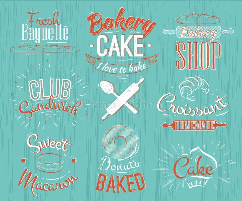 Χαρακτήρες αρτοποιείων αναδρομικοί ελεύθερη απεικόνιση δικαιώματος