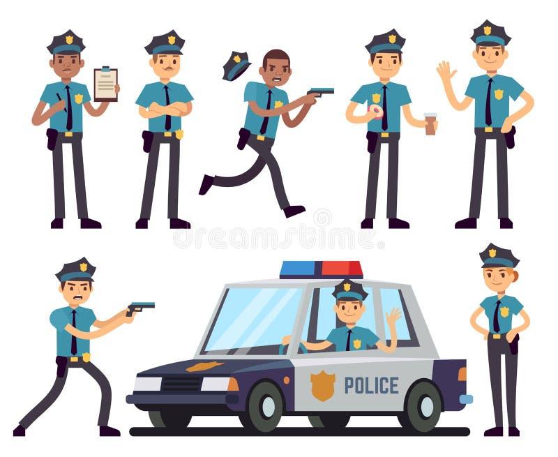 Χαρακτήρες αστυνομικινών και αστυνομικών κινούμενων σχεδίων στο ομοιόμορφο διανυσματικό σύνολο αστυνομίας διανυσματική απεικόνιση