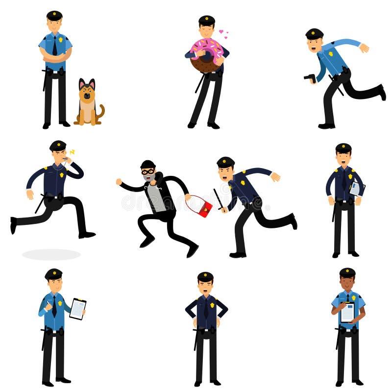 Χαρακτήρες αστυνομικών που κάνουν το σύνολο εργασίας τους, αστυνομικοί στις απεικονίσεις εργασίας διανυσματική απεικόνιση
