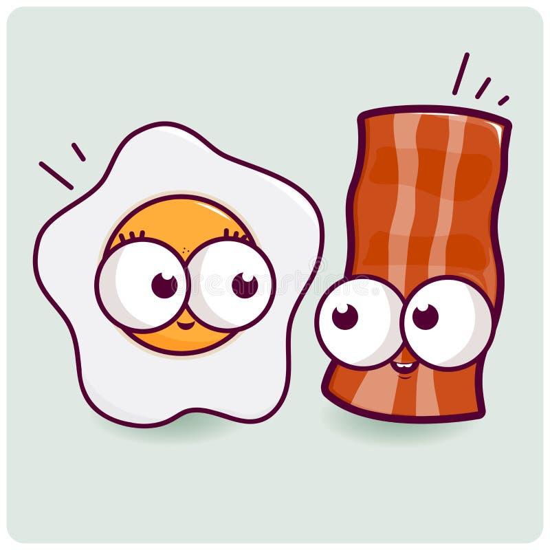Χαρακτήρες αυγών και μπέϊκον διανυσματική απεικόνιση