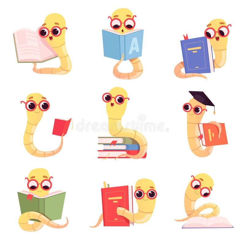 Χαρακτήρες βιβλιοψειρών Παιδιά σκουληκιών που διαβάζουν στο σχολείο βιβλίων λίγο ζώο μωρών στη βιβλιοθήκη διανυσματική συλλογή διανυσματική απεικόνιση