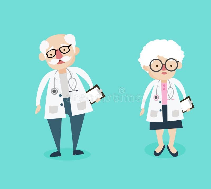 Χαρακτήρες γιατρών ανδρών και γυναικών ελεύθερη απεικόνιση δικαιώματος