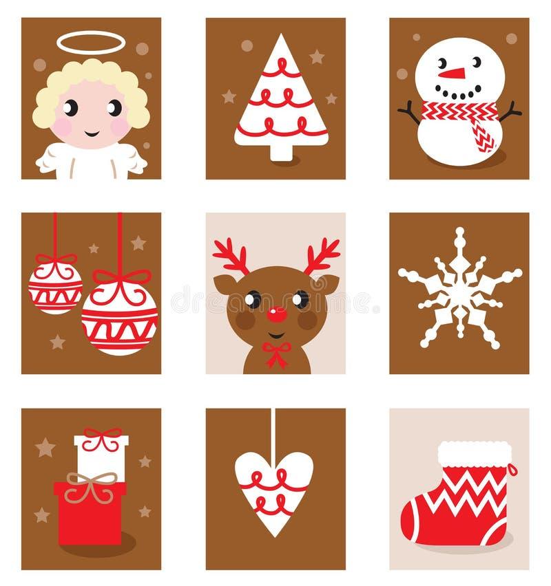 Χαρακτήρες & εξαρτήματα Χριστουγέννων απεικόνιση αποθεμάτων