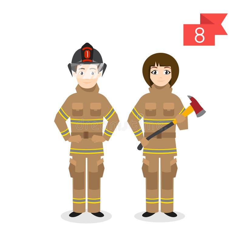Χαρακτήρες επαγγέλματος: άνδρας και γυναίκα firefighter απεικόνιση αποθεμάτων
