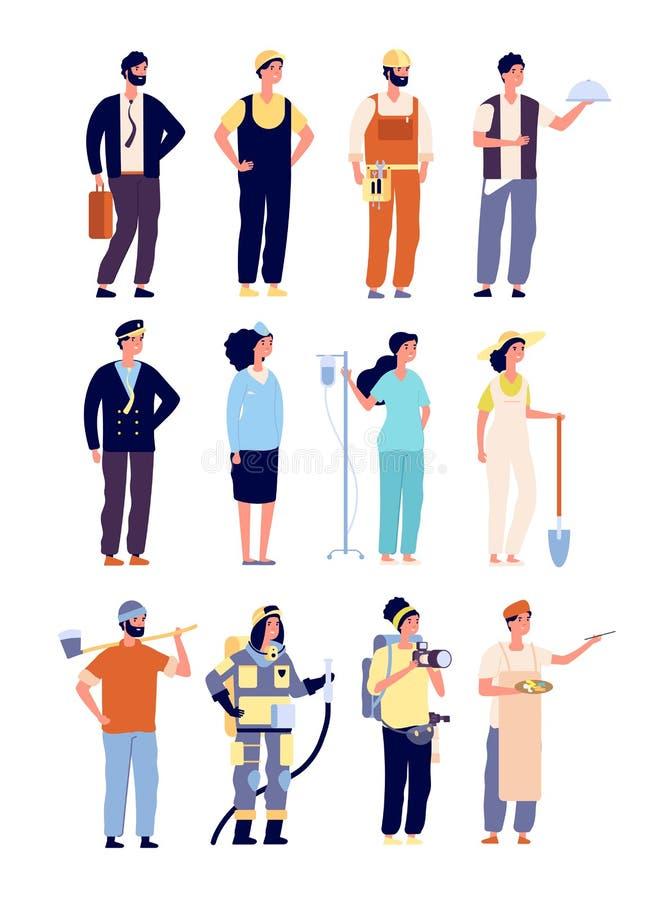 Χαρακτήρες επαγγελματιών αστυνομικός και πυροσβέστης, γιατρός και αεροσυνοδός, καλλιτέχνης και μουσικός, οικοδόμος διάνυσμα Εργατ διανυσματική απεικόνιση