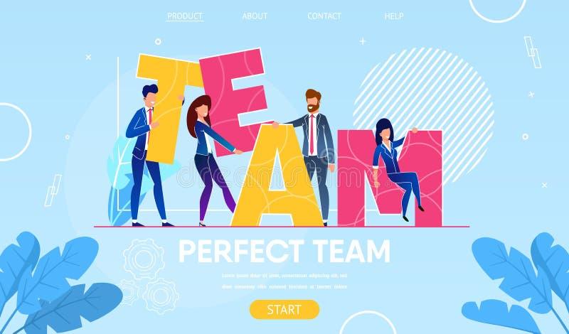 Χαρακτήρες επιχειρηματιών που χτίζουν την ομάδα του Word απεικόνιση αποθεμάτων