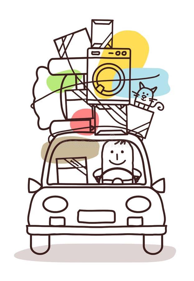 Χαρακτήρες και αυτοκίνητο - κίνηση διανυσματική απεικόνιση