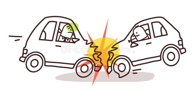 Χαρακτήρες και αυτοκίνητο - τροχαίο ατύχημα απεικόνιση αποθεμάτων