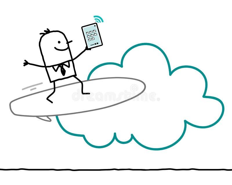 Χαρακτήρες και σύννεφο - κυματωγή ελεύθερη απεικόνιση δικαιώματος