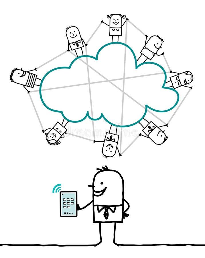 Χαρακτήρες και σύννεφο - που συνδέονται ελεύθερη απεικόνιση δικαιώματος