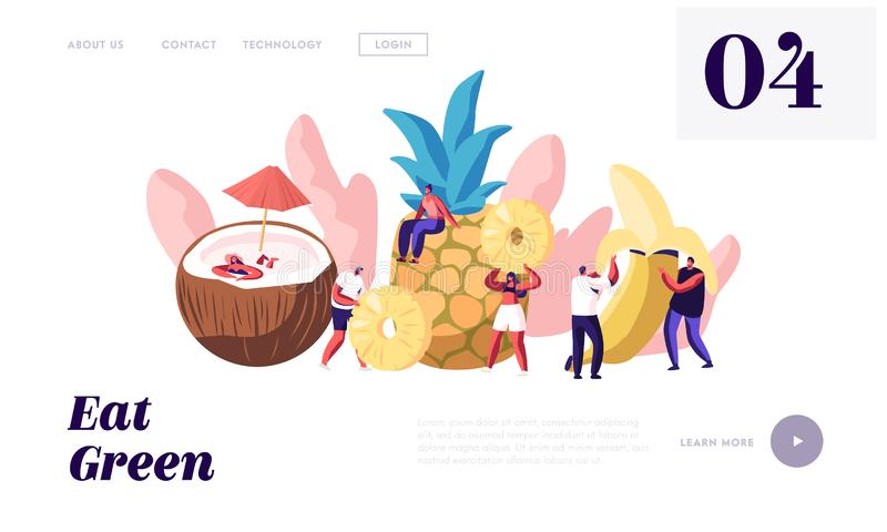 Χαρακτήρες και ώριμη σελίδα ιστοχώρου φρούτων προσγειωμένος, καρύδα, ανανάς, μπανάνα, υγιή τρόφιμα, ενισχυμένη διατροφή, καλοκαίρ απεικόνιση αποθεμάτων