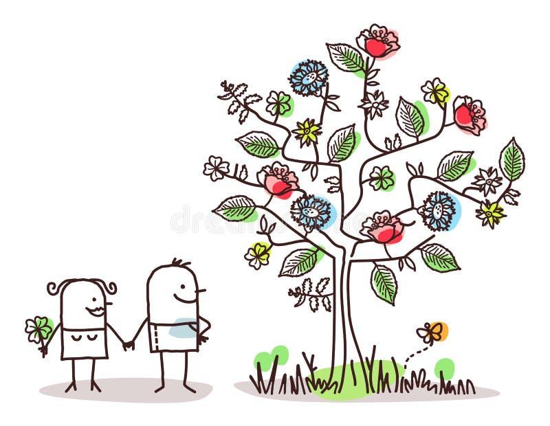 Χαρακτήρες κινουμένων σχεδίων και δέντρο ανοίξεων διανυσματική απεικόνιση