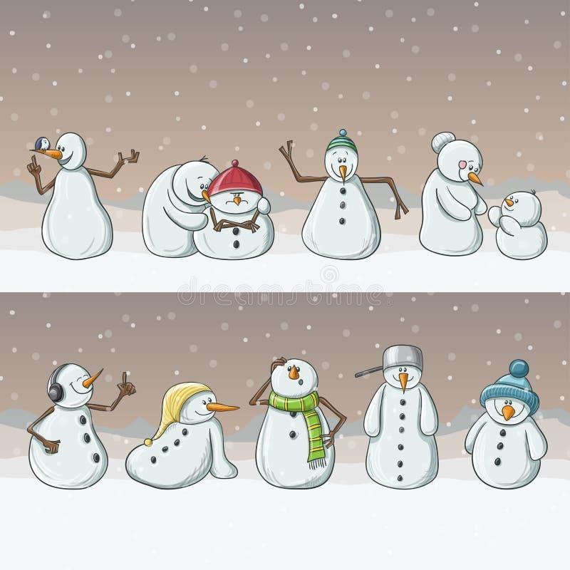 Χαρακτήρες κινουμένων σχεδίων χιονανθρώπων, που αντιπροσωπεύουν στη σειρά στις χιονοπτώσεις τα Χριστούγεννα απεικόνιση αποθεμάτων