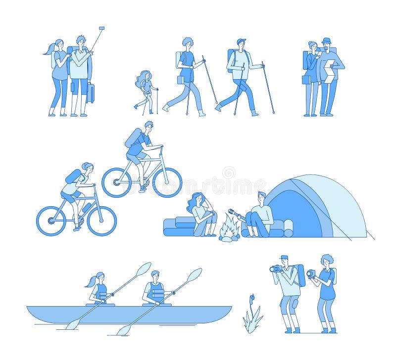 Χαρακτήρες οδοιπόρων Φίλων πυρών προσκόπων ταξιδιού τουριστών ομάδας η πεζοπορία οδηγώντας ποδηλάτων οικογένεια οδοιπορίας βαρκών απεικόνιση αποθεμάτων