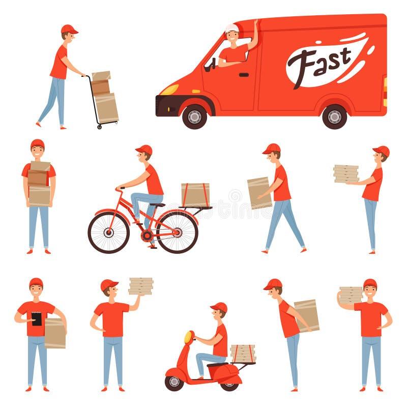 Χαρακτήρες παράδοσης πιτσών Φορτηγό και μοτοσικλέτα ή μοτοποδήλατο για τη γρήγορη μεταφορά εστιατορίων υπηρεσίας επιχείρησης ατόμ διανυσματική απεικόνιση