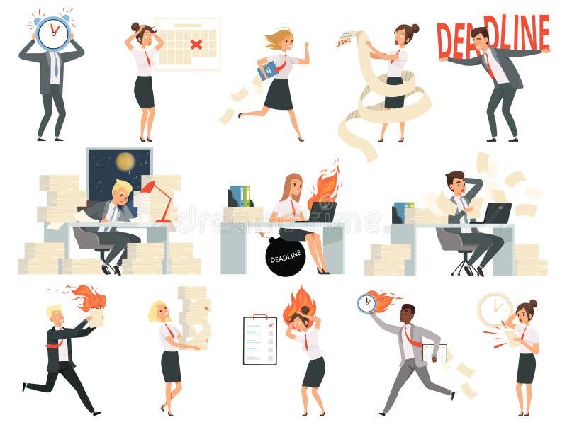 Χαρακτήρες προθεσμίας Διευθυντές διευθυντών επιχειρησιακών καταπονημένοι ανθρώπων που τονίζονται και ορμώντας άνθρωποι χώρου εργα απεικόνιση αποθεμάτων