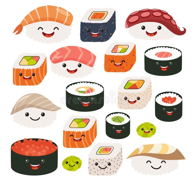 Χαρακτήρες σουσιών Emoji Ιαπωνικά τρόφιμα κινούμενων σχεδίων Διανυσματικοί καθορισμένοι χαρακτήρες κινουμένων σχεδίων σουσιών απεικόνιση αποθεμάτων