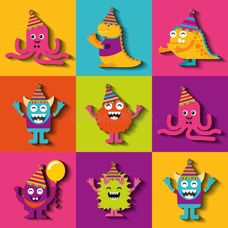Χαρακτήρες τεράτων στη γιορτή γενεθλίων απεικόνιση αποθεμάτων