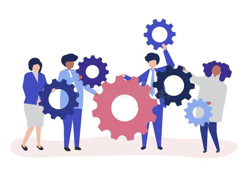 Χαρακτήρες των επιχειρηματιών που κρατούν cogwheels την απεικόνιση ελεύθερη απεικόνιση δικαιώματος