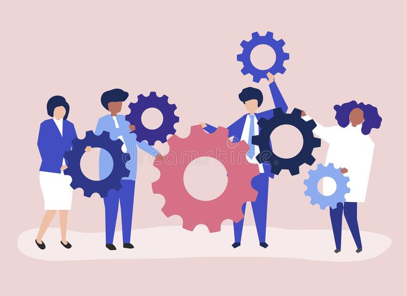 Χαρακτήρες των επιχειρηματιών που κρατούν cogwheels την απεικόνιση απεικόνιση αποθεμάτων