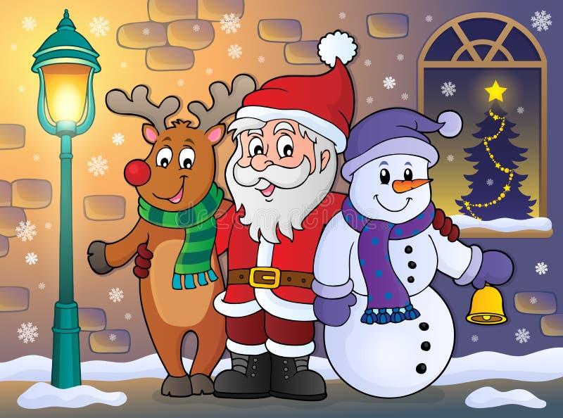 Χαρακτήρες Χριστουγέννων στο θέμα 1 πεζοδρομίων απεικόνιση αποθεμάτων